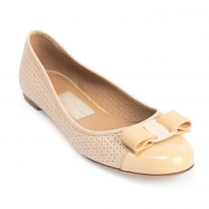 Salvatore Ferragamo Varina Perforated Leather Ballet Flats (01)