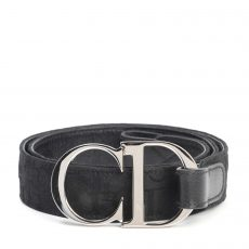 Dior Black Embroidered Diorissimo CD Buckle Belt (01)