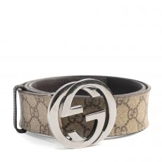 Gucci GG Supreme Canvas Interlocking G Belt, Size 85:34 (01)