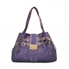 Jimmy Choo Purple Snakeskin Embossed Suede Riki Bag (01)