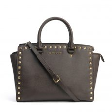 Michael Kors 'Selma Stud-Large' Brown Saffiano Leather Satchel (01)