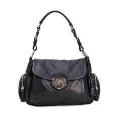 Prada Black Leather Foldover Small Shoulder Bag (01)