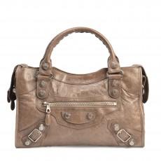 Balenciaga Brown Arena Leather Giant 21 Silver City Bag (03)