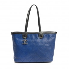 CHANEL Blue Small Grained Calfskin Shopping Fever Tote (01)