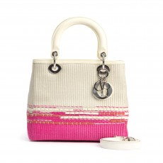 Christian Dior Pink:Cream Raffia Woven Medium Lady Dior Tote (08)
