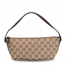 Gucci Brown GG Canvas Boat Web Pochette
