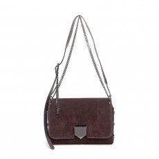 Jimmy Choo Burgundy Suede Lockett City Crossbody  (02)
