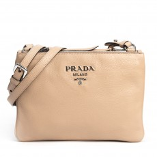 Prada Beige Cammeo Vitello Phenix Double Zip Crossbody Bag (01)