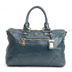 Prada Denim Blue Vitello Shine Leather East:West Bauletto Bag (01)