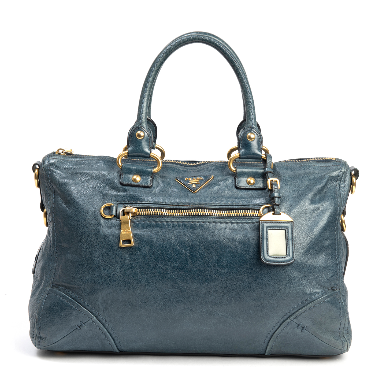 Prada Denim Blue Vitello Shine Leather East:West Bauletto Bag (01)