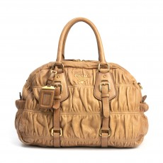 Prada Naturale Cervo Leather Gaufre Satchel (01)