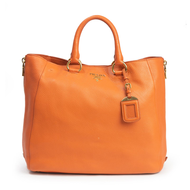 Prada Orange Vitello Daino Leather Large Side Zip Shopping Tote  (01)