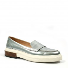 Tod's Metallic Silver Leather Slip-On Loafer Sneakers (01)