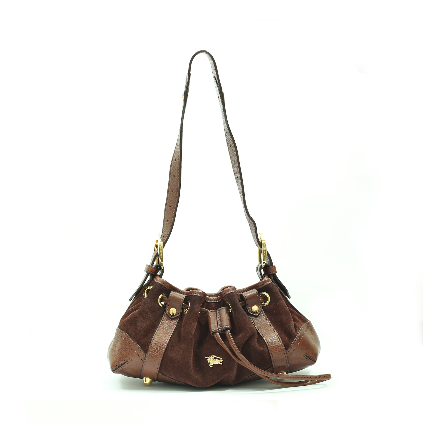 Burberry Brown Suede and Leather Drawstring Hobo