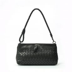 BottegaVeneta Ebony Intrecciato Woven Leather Frame Pochette Bag (05)