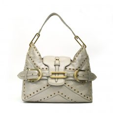 Jimmy Choo Metallic Silver Leather Studded Tulita Shoulder Bag