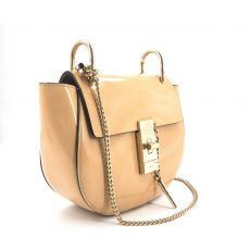 Chloe Brown Patent Leather Drew Mini Shoulder Bag