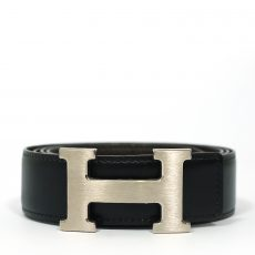 Hermes 32mm Box Togo Leather Palladium Plated H Belt (03)