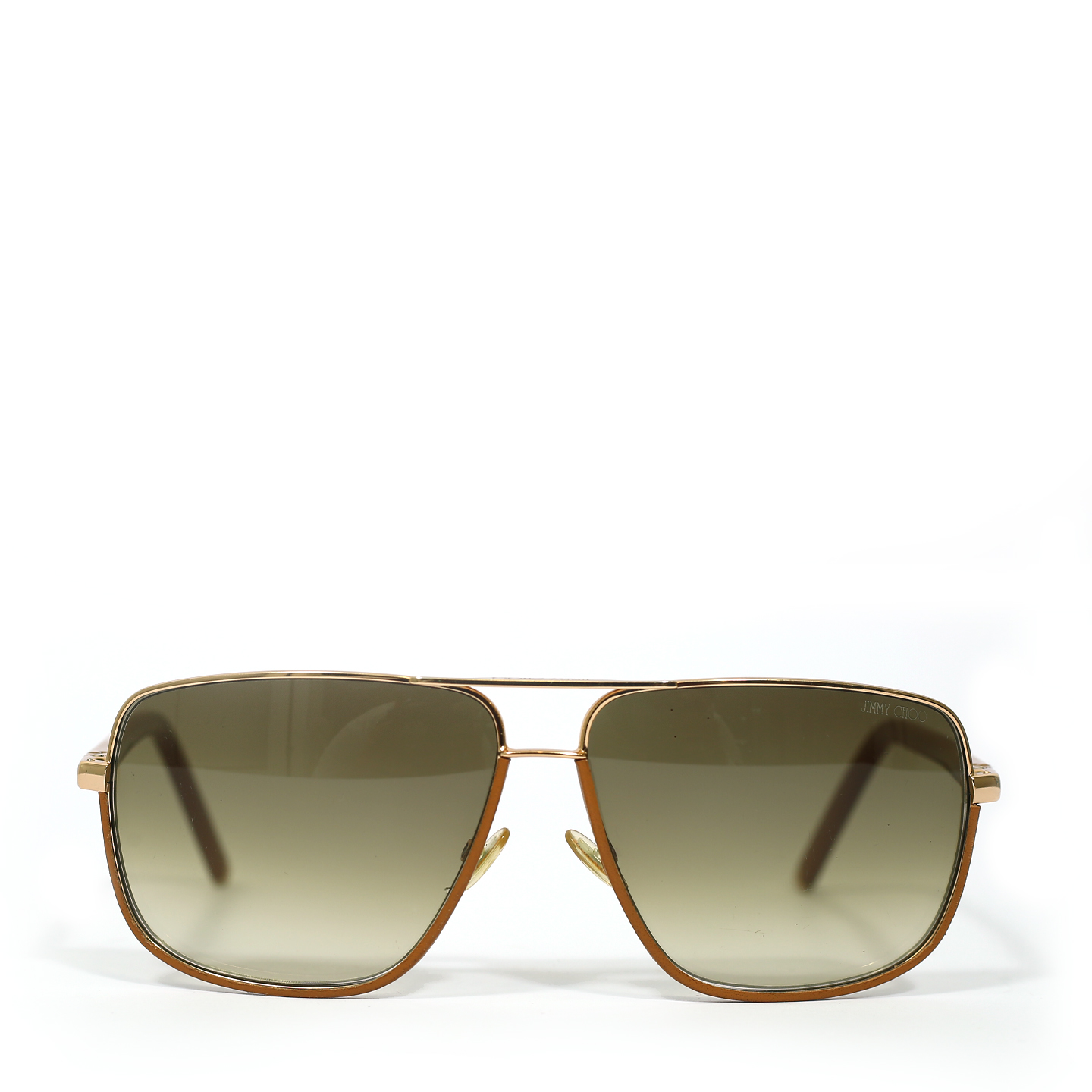 Jimmy Choo Brown 'Carry' Leather Trim Wire Rim Sunglasses