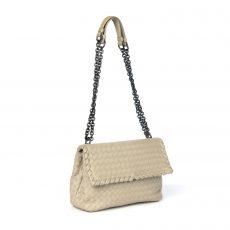 Bottega Veneta Grey Intrecciato Woven Nappa Leather Olimpia Shoulder Bag (01)