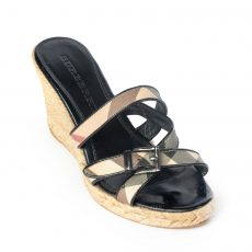 Burberry Black Patent Leather and Nova Check Espadrille Wedge Sandals
