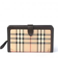 Burberry Chocolate Haymarket Check Coated Canvas Continental Wallet