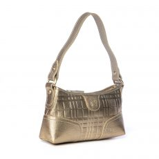 Burberry Gold Embossed Leather Zip Baguette Bag (01)