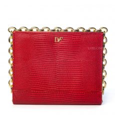 Diane Von Furstenberg Red Embossed Leather Clutch