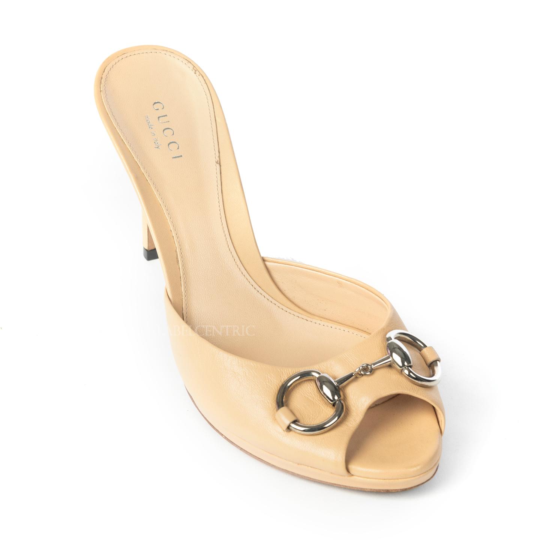Gucci Beige Leather New Hollywood Horsebit Slide Sandals