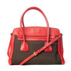 Prada Canvas and Saffiano Leather Top Handle Tote Bag (03)