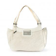 Christian Dior White Diorissimo Canvas Small Tote Bag