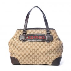 Gucci Beige:Brown GG Canvas and Leather Medium Web Dressage Tote