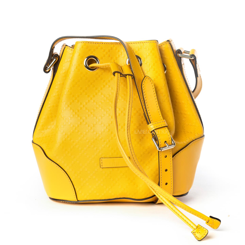 Gucci Yellow Diamante Leather Small Bucket Bag (01)