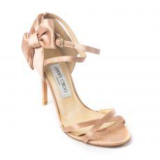 Jimmy Choo Pink Satin Zambia Bow Sandals