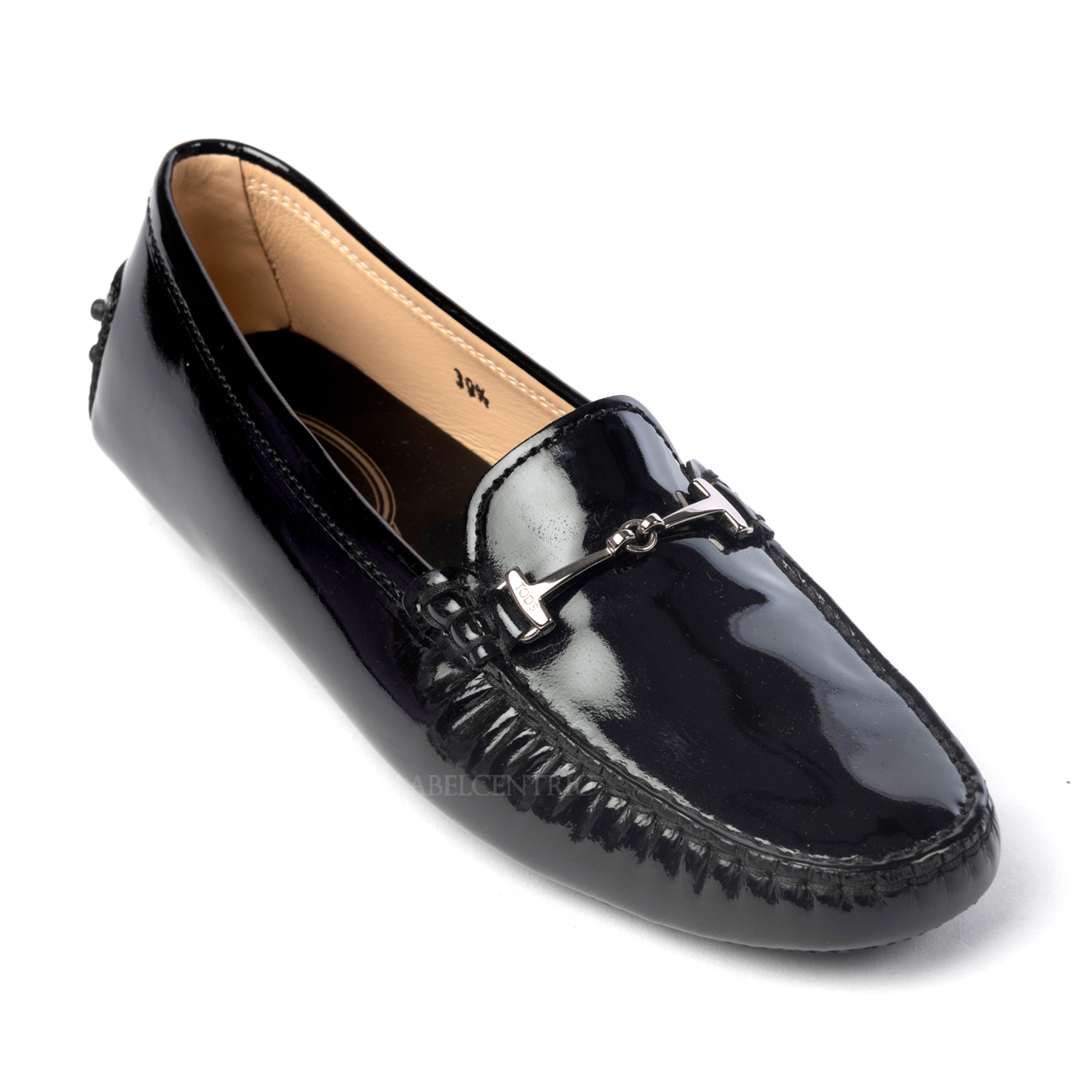 Tod's Black Patent Leather Double T Loafers