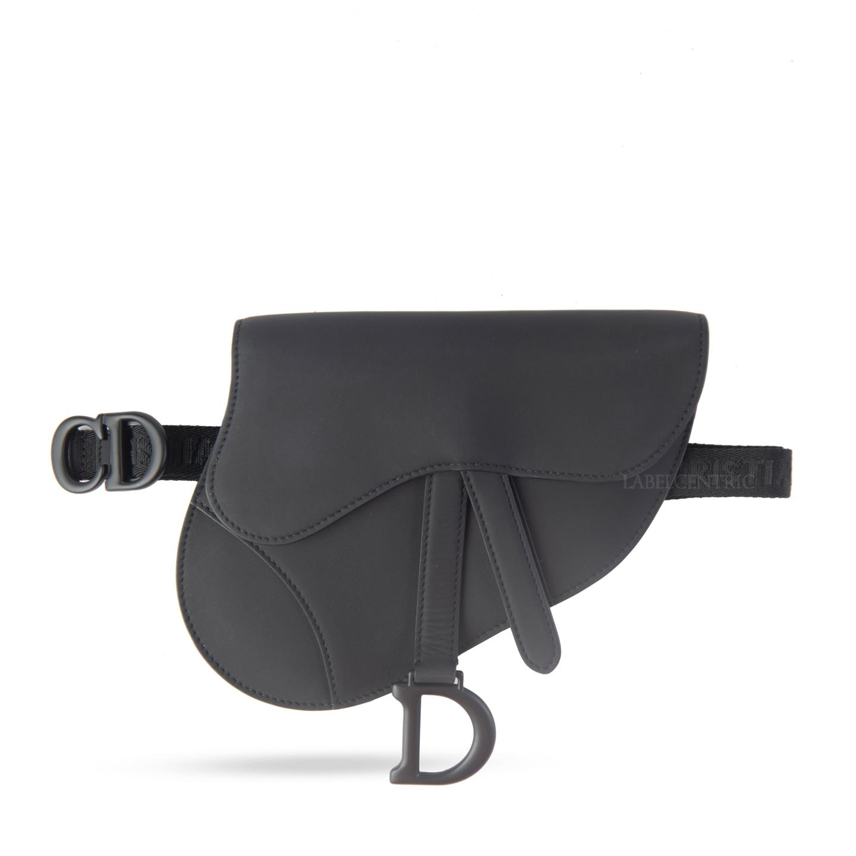 Christian Dior Black Ultramatte Saddle Flat Belt Pouch