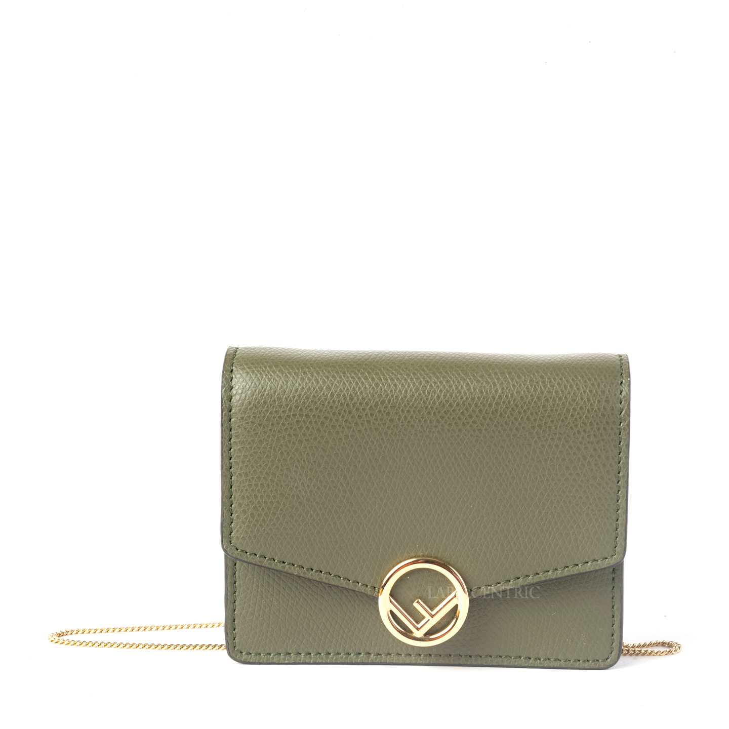 Fendi Cruise Leather Small Chain Wallet in Aspargo