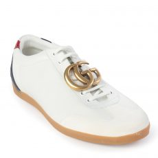 Gucci Men's White Bambi GG Leather Low-Top Sneakers