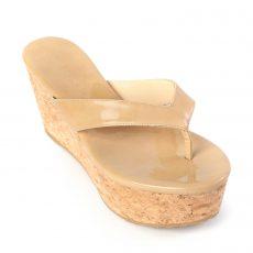 Jimmy Choo Patent Leather Pathos Thong Cork Wedges