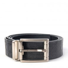 Salvatore Ferragamo Adjustable Gancio Embossed Leather Belt
