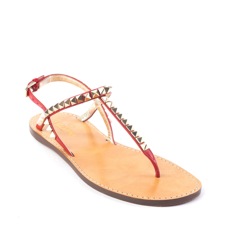 Valentino Rockstud No Limit Red Thong Sandals