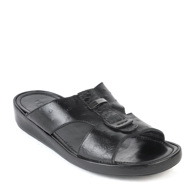 Versace Black Ostrich Leather Flat Sandals