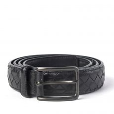 Bottega Veneta Black Intrecciato Leather Leather Belt (03)