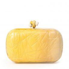 Bottega Veneta Yellow Yolk Ombre Leather Embroidered Knot Clutch