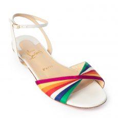 Christian Louboutin Multicolor Rainbow Ribbon Naseeba Latte Sandals
