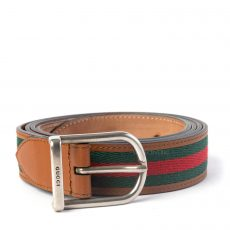 GUCCI NYLON WEB LEATHER BELT WITH ROUNDED BUCKLE (01)