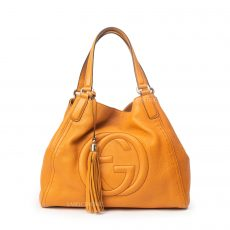 Gucci Orange Pebbled Leather Medium Soho Tote