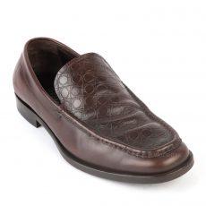 Salvatore Ferragamo Dark Brown Leather Dress Loafers