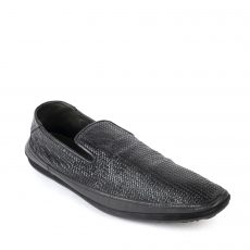 Versace Black Woven Leather Slip On Loafers