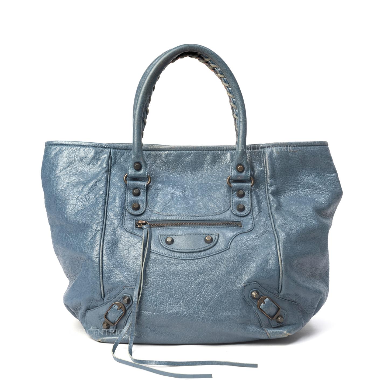Balenciaga Blue Lambskin Leather Sunday S Tote